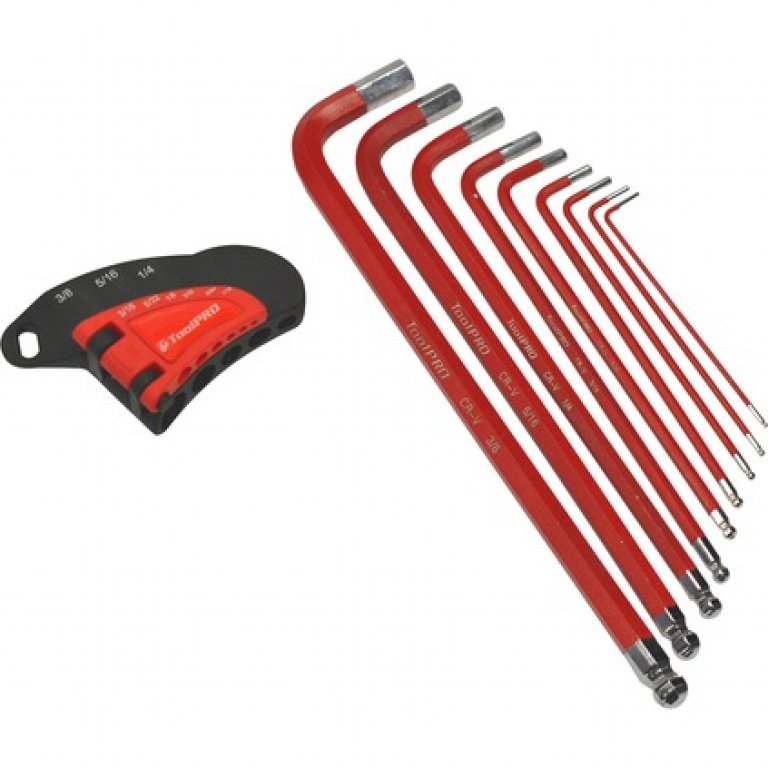 Toolpro Long HEX KEY SET - Imperial, 9 Pieces
