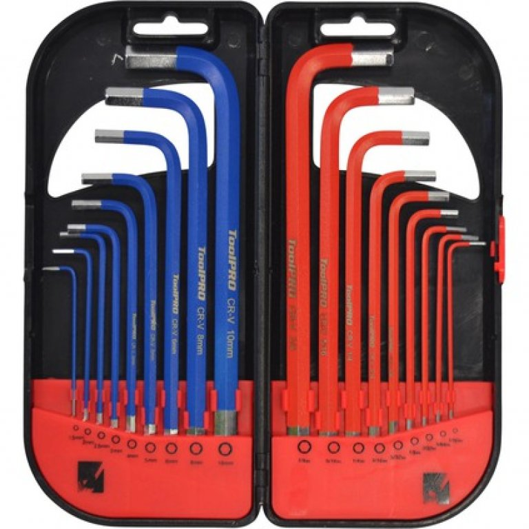 Toolpro Long HEX KEY SET - Metric / Imperial, 18 Pieces
