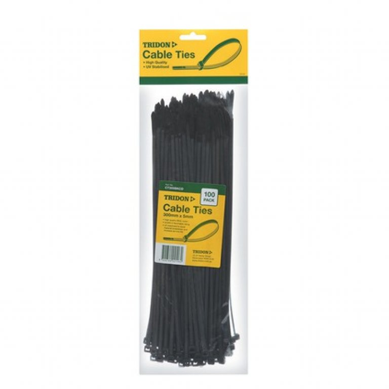 Tridon Cable TIES - 300MM X 5MM, 100 PACK, Black