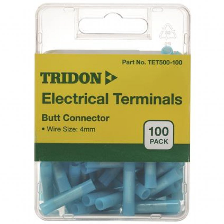 Tridon Electrical Terminals - BUTT Connector, Blue, 100 PACK
