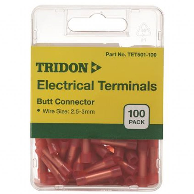 Tridon Electrical Terminals - BUTT Connector, Red, 100 PACK