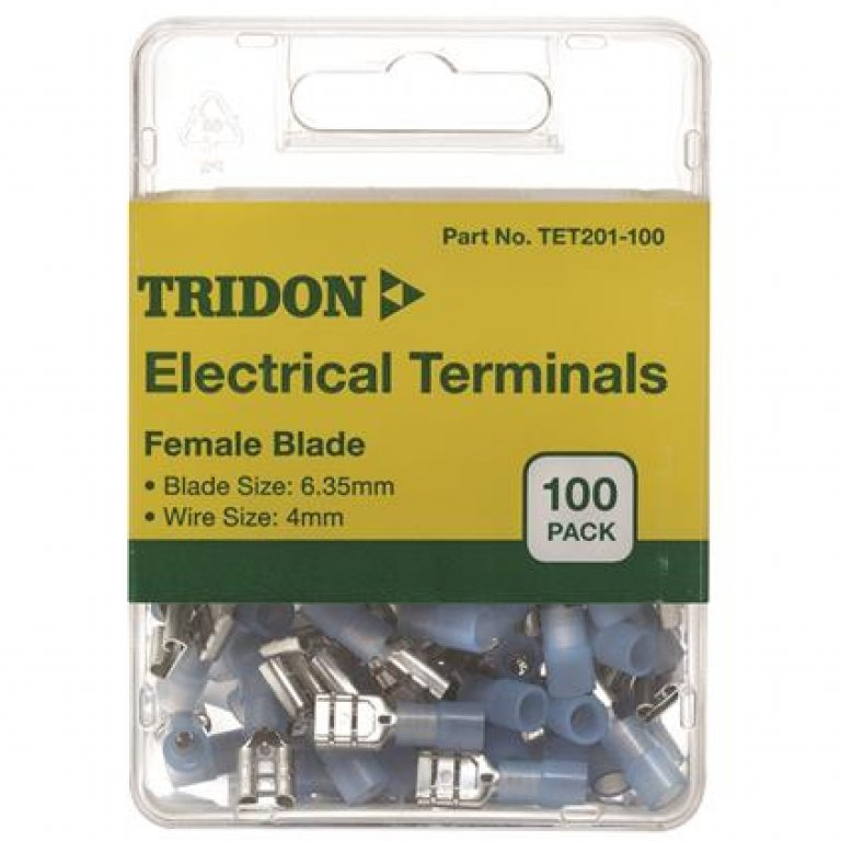 Tridon Electrical Terminals - Female Blade, Blue, 3.35mm, 100 PACK