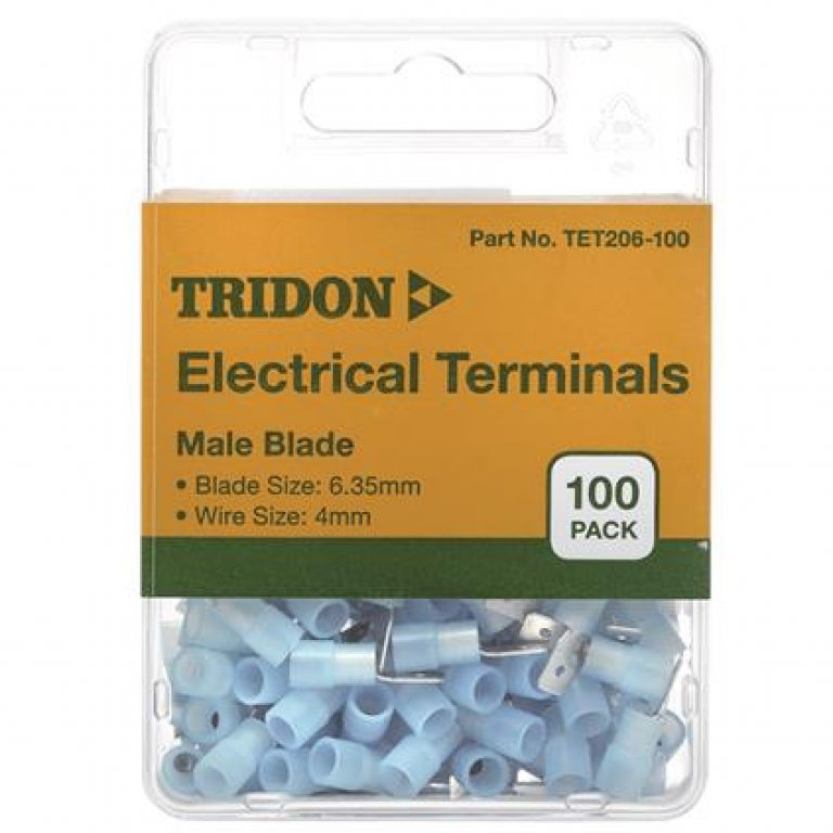 Tridon Electrical Terminals - MALE Blade, Blue, 3.35mm, 100 PACK