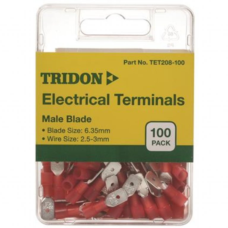 Tridon Electrical Terminals - MALE Blade, Red, 6.35mm, 100 PACK