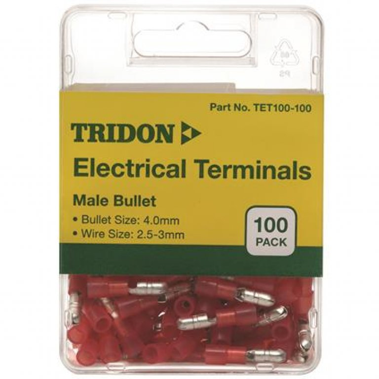 Tridon Electrical Terminals - MALE Bullet, Red, 4MM, 100 PACK