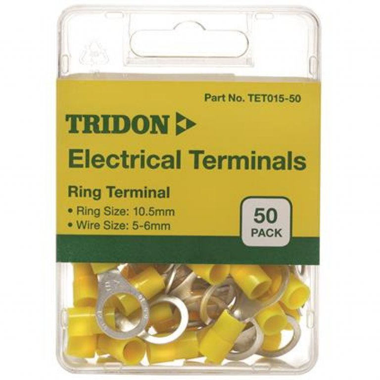 Tridon Electrical Terminals - Ring (EYE)), Yellow, 10.5mm, 50 PACK