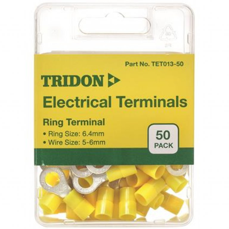 Tridon Electrical Terminals - Ring (EYE)), Yellow, 6.4mm, 50 PACK