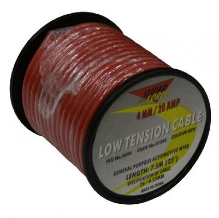 Super Force Auto Cable - 7.5M, 4MM, Low Tension, Red