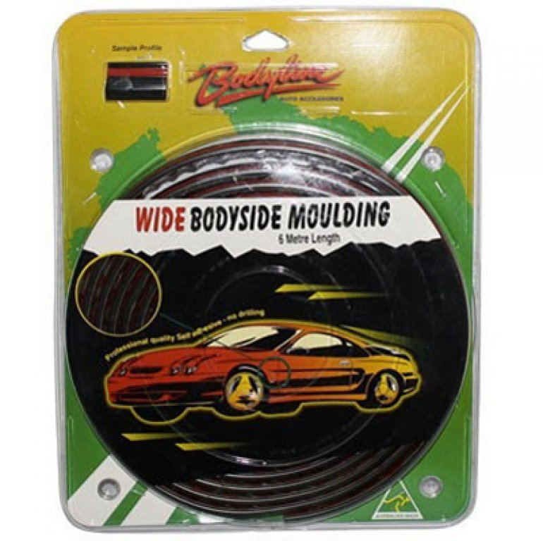 Bodyline Moulding - Bodyside, Wide, Black / Red, 6M